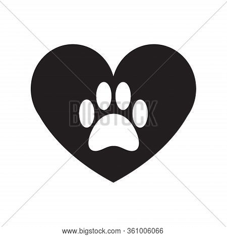 Vector Flat Cartoon Black Animal Cat Paw Foot Print In Heart Isolated On White Background