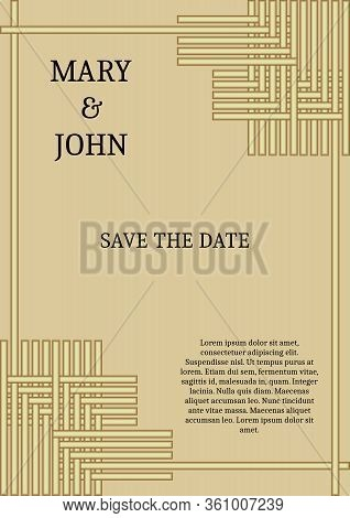 Wedding Announcement In Simply Elegant Style, Golden Grid On Light Golden Background, Sample Text