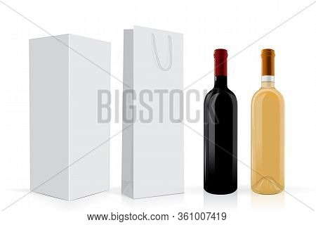 Transparent Bottles Of Wine With Package Mock Up