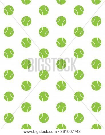 Vector Seamless Pattern Of Flat Cartoon Green Tennis Ball Isolated On White Background