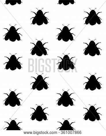 Vector Seamless Pattern Of Black Bumblebee Bee Silhouette Isolated On White Background