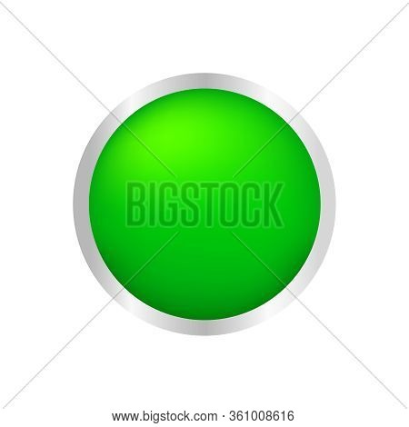 Button Circle Shape Green For Buttons Games Play Isolated On White, Green Modern Buttons Simple And