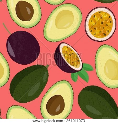 Whole Fresh Avocado And Half And Passion Fruit Seamless Pattern. Exotic Meal Background.
