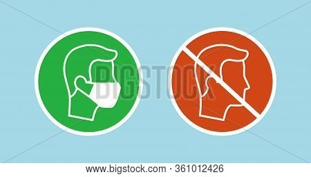 Set Of Icons With Man Wearing Protective Face Mask - Covid-19 Safety Measures, Restriction, Covering