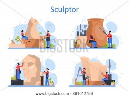 Professional Sculptor Concept Set. Creating Sculpture Of The Marble,