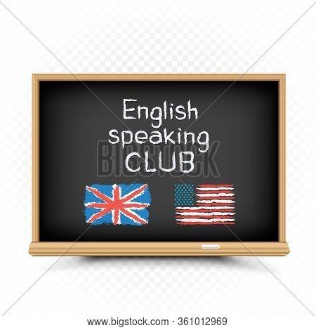 English Speaking Club Text Draw On Chalkboard