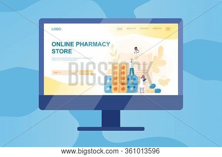 Online Pharmacy Web Banner On Computer Or Tv Screen.