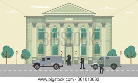 Cash Transit Guards Vector Illustration. Cartoon Flat Man Characters In Bulletproof Vests Standing N