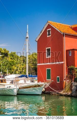 A Small Port Called Fosa At Historic Center Of The Zadar Town At The Mediterranean Sea, Croatia, Eur