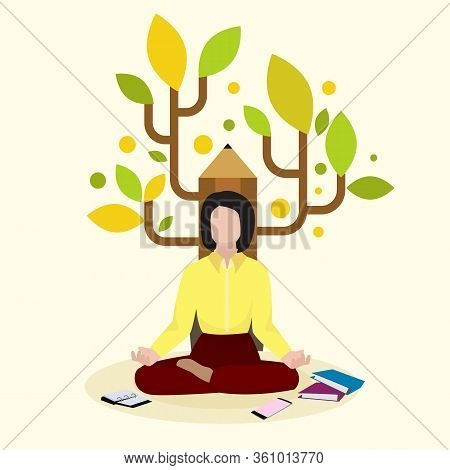 Creative Female Writer, Author Sitting On Pencil Background And Book, Volume, Flat Vector Illustrati