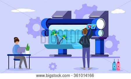 Printing Industry, Tiny Character Work In Creative Business Office, Flat Vector Illustration. Male,
