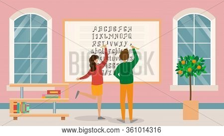 Musical School, Board With Sheet Music, Character Male, Female Student Learning Notes, Flat Vector I