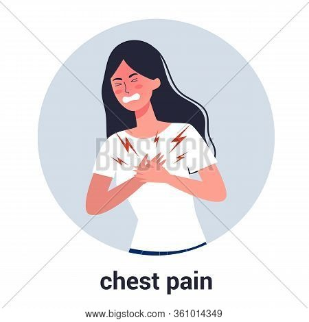 Woman Feel Chest Pain. Heart Attack Or Symptoms Of Heart Disease.