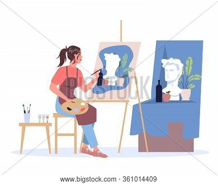 Woman Artist Sitting At The Easel And Painting. Young Painter