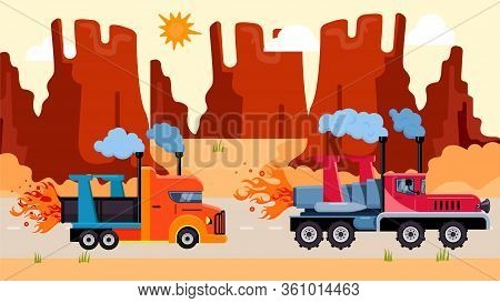 Wagon Truck With Rocket Drive Ride Desert, Big Delivery Transport Flat Vector Illustration. Truck Dr