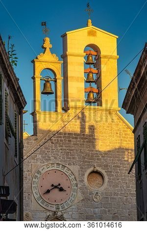 Church Of St. Barbara In Sibenik At Sunset, Croatia, Europe.