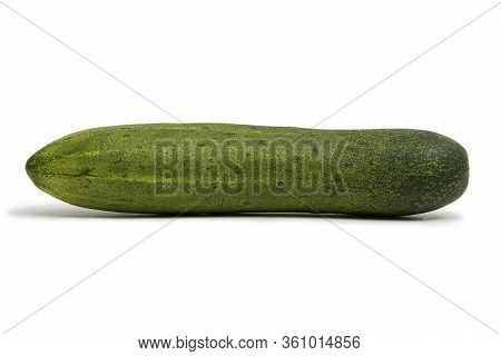 A Cucumber Isolated On A White Background.