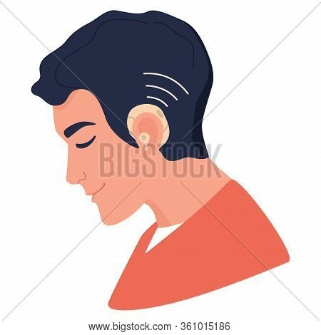 Young Deaf Man With Hearing Aid. Hearing Disability Concept.