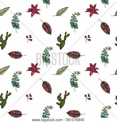 Seamless Pattern With Hand Drawn Colored Ficus, Iresine, Kalanchoe, Calathea, Guzmania, Cactus Stock
