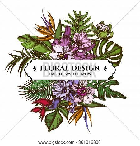 Floral Bouquet Design With Colored Monstera, Banana Palm Leaves, Strelitzia, Heliconia, Tropical Pal