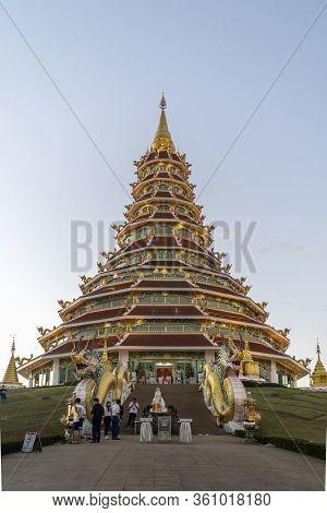 Chiang Rai, Thailand - January 1st 2020: Wat Huay Pla Kang Temple Big Buddha At Dusk, Chiang Rai, Th