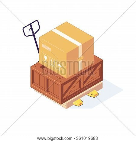Isometric Warehouse Boxes Pallets Freights Goods. 3D Storage Box Pallet Shelving Racking Stacking Ve