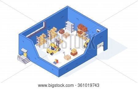 Isometric Warehouse Box Pallet Package Pallet And Forklift Factory. Delivery Goods Vector Illustrati