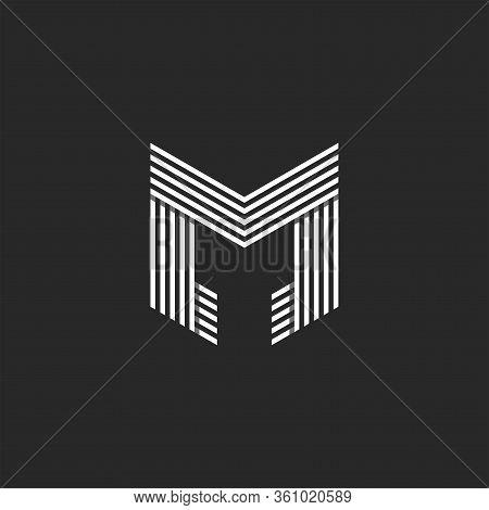 Monogram Letter M Logo Initial, Black And White Lines Art Typo Mark Design Element, Weaving Pattern