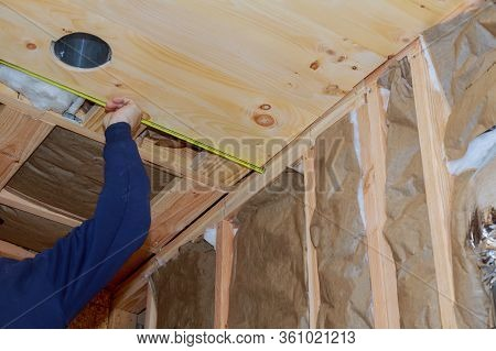 Wooden Ceiling In A Private House For Construction And Renovation Future Walls Insulated With Rock W
