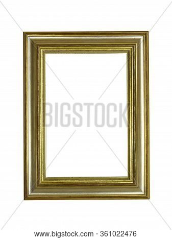 Empty Brown Wooden Frame For Paintings With Gold Patina. Isolated On White Background