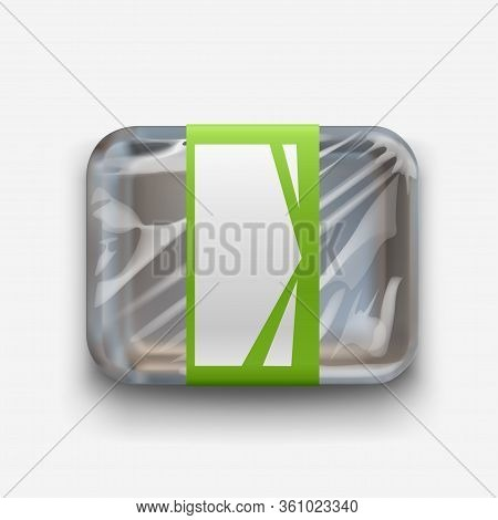Illustration Of Black Styrofoam Container With Plastic Stretch Film On White Background