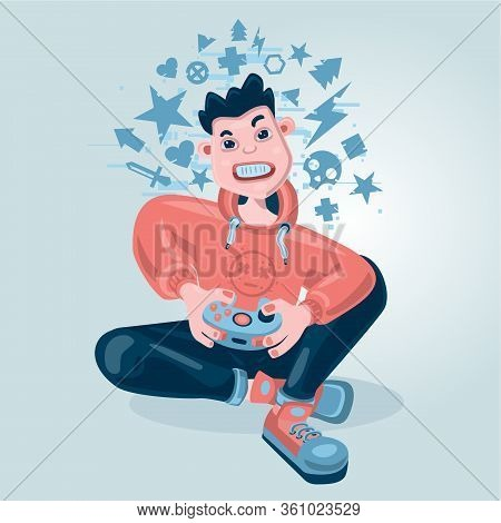 Gamer Boy. Video Game Background. Kid Holding A Console Game Pad. Cartoon Vector Character.