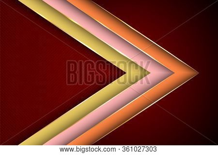 Polygonal Arrow With Gold Triangle Edge Lines Banner Vector Design. Royal Business Background Templa