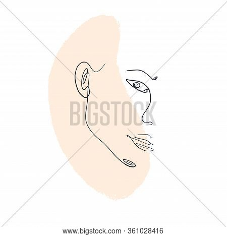 Trendy Abstract One Line Woman Portrait With Pastel Shapes. Woman Face One Line Drawing On Pastel Pi