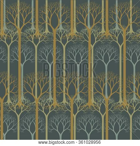 Seamless Pattern With Barren Tree Silhouettes. Hand Drawn Natural Illustration With Stylized Trees.