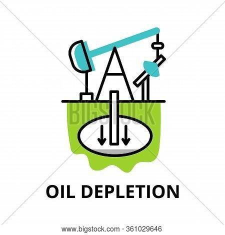 Modern Flat Thin Line Design Icon, Vector Illustration, Infographic Concept Of Oil Depletion Icon, F
