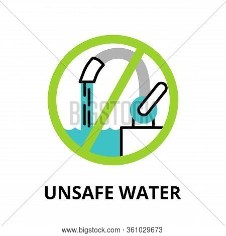 Modern Flat Thin Line Design Icon, Vector Illustration, Infographic Concept Of Unsafe Water, For Gra