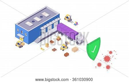 Isometric Covid-19 Safety Warehouse Delivery Service Transport Box Package Goods Food Parcel Cargo V