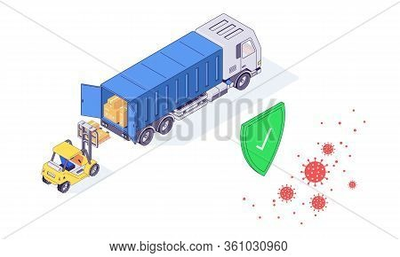 Isometric Warehouse Coronavirus Safety Logistic Service Transport Box Package Goods Food Parcel Vect