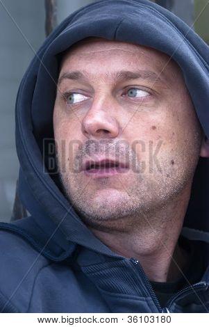 Man Wearing Hooded Sweatshirt