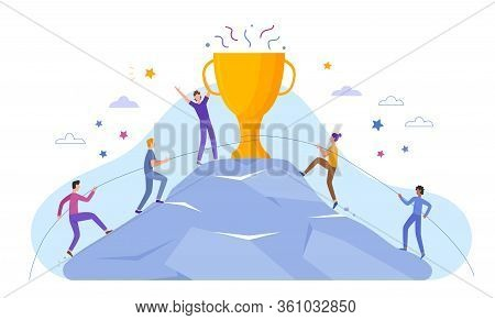 Business People Characters Climb To Top Peak Award Cup Poster Banner Website Vector Illustration. Le