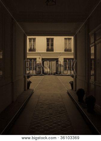 Paris Courtyard Through An Entryway