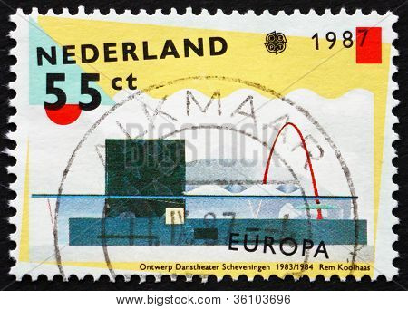 Postage stamp Netherlands 1987 Scheveningen Dance Theater