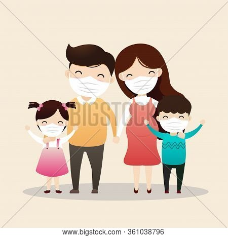Family In Medical Masks. Family Is Protecting Their Children And Them From Virus Covid-19 And Are We