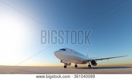 Airplane at the landing strip. Ground view, wide angle shot. 3D Render