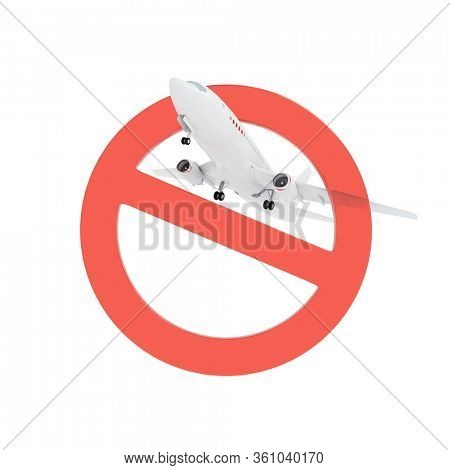 Airplane flight through stop sign isolated on white. 3D render