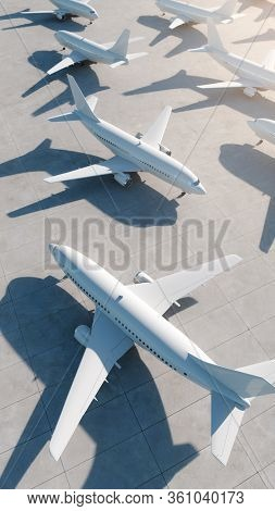 Many airplanes stand at the airport because of world crisis. 3D Render