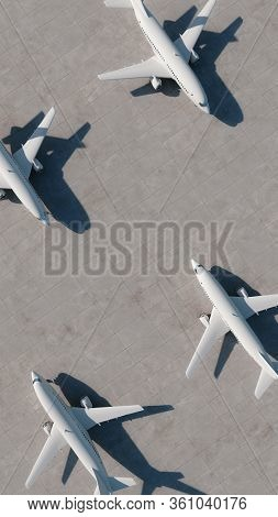 Airplanes stand at the airport. Aerial view. 3D Render