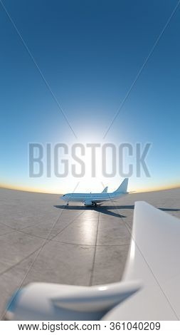 Airplanes at the empty airport. Wide angle view from the porthole. 3D Render
