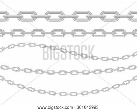 Metallic Chain. Block Chain. Collection Of Seamless Metal Chains Colored Silver. Vector Stock Illust